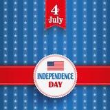 4th July White Emblem Stars Stripes. Independence day retro flyer with white emblem royalty free illustration