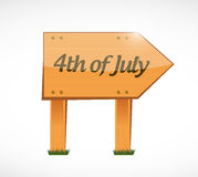 4th of July wood sign concept illustration. Design isolated over white Royalty Free Stock Photo