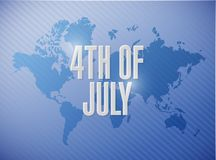 4th of July world map sign concept. Illustration design Royalty Free Stock Photos