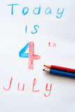 4th of July Written. On a piece of colored pencils vector illustration