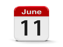 11th June. Calendar web button - The Eleventh of June, three-dimensional rendering, 3D illustration Stock Images