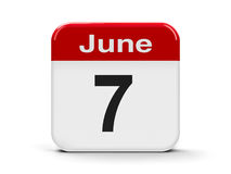 7th June. Calendar web button - The Seventh of June, three-dimensional rendering, 3D illustration stock illustration