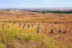 7th kavallerimarkörstenar på Little Bighornslagfältmedborgaren Arkivfoton