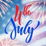 4th kort för Juli USA fyrverkerihälsning Royaltyfri Bild