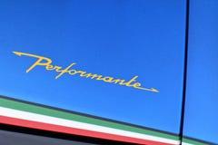 88th Lemański Międzynarodowy Motorowy przedstawienie 2018 - Lamborghini Performante znak zdjęcia stock
