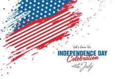 4th Lipa świętowanie z abstrakta stylu usa flaga tłem Obrazy Royalty Free