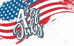 4th Lipa świętowanie z abstrakta stylu usa flaga tłem Obrazy Stock