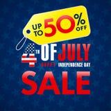 4th Lipa usa, dzień niepodległości sprzedaży promoci sztandar Zdjęcia Stock
