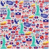 4th Lipiec, Amerykański dzień niepodległości bezszwowy Ilustracja Wektor