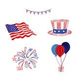 4th Lipiec, dzień niepodległości, nakreślenie styl, wektorowa ilustracja ilustracja wektor
