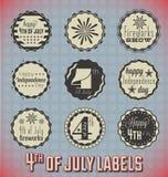 4th Lipiec ikony i etykietki Fotografia Royalty Free