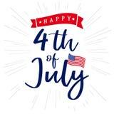4th Lipiec, Szczęśliwy dzień niepodległości usa literowanie i lekkich promieni projekt Obraz Royalty Free