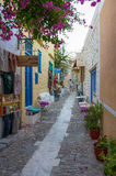 25th 2016 Lipiec - ulica w Ermoupolis, Syros wyspa, Cyclades, Grecja Obrazy Royalty Free