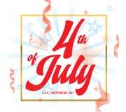 4th Lipiec, Zlany Twierdzić dnia niepodległości powitanie Czwarty Lipa typograficzny projekt royalty ilustracja