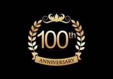 100th, logo de luxe de célébration d'anniversaire illustration stock