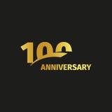 100th logotipo dourado abstrato isolado do aniversário no fundo preto Foto de Stock