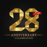 28th logotyp för årsdagårsberöm Guld- nummer för logoband och rött band på svart bakgrund stock illustrationer