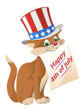 4th lyckliga juli Den roliga katten in i den patriotiska hatten gratulerar Royaltyfri Foto