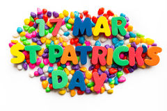 17th mar st patrick's day word in colorful stone Stock Photo