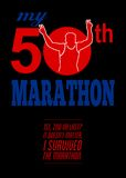 50th Marathon Race Poster. Poster greeting card illustration showing a silhouette of Marathon runner flashing victory hand sign done in retro style set inside Royalty Free Stock Image