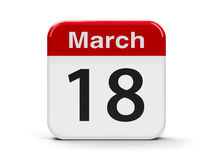 18th March. Calendar web button - The Eighteenth of March, three-dimensional rendering, 3D illustration stock illustration