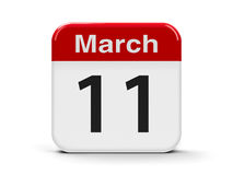 11th March. Calendar web button - The Eleventh of March, three-dimensional rendering, 3D illustration stock illustration
