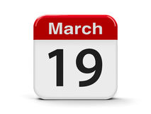 19th March. Calendar web button - The Nineteenth of March - International client`s day, three-dimensional rendering, 3D illustration Royalty Free Stock Images