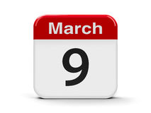 9th March. Calendar web button - The Ninth of March - World DJ Day, three-dimensional rendering, 3D illustration Royalty Free Stock Images
