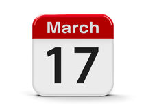 17th March. Calendar web button - The Seventeenth of March - St. Patrick`s Day, three-dimensional rendering, 3D illustration Royalty Free Stock Photography