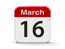 16th March. Calendar web button - The Sixteenth of March, three-dimensional rendering, 3D illustration royalty free illustration