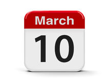 10th March. Calendar web button - The Tenth of March, three-dimensional rendering, 3D illustration royalty free illustration