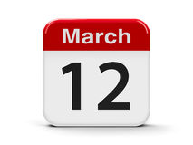 12th March. Calendar web button - The Twelfth of March, three-dimensional rendering, 3D illustration Royalty Free Stock Photography