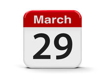 29th March. Calendar web button - The Twenty Ninth of March, three-dimensional rendering, 3D illustration Stock Images