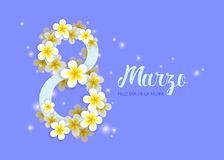 8th of march card with plumeria flowers stock illustration