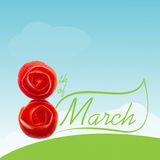 8th of March Card. With tomato roses Royalty Free Stock Image