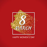 8th of March Gold Vector Design with Glitter Stroke Brush on a Red Background. Golden Glitter International Happy Women`s Day Poster. Background for Flyer Stock Image