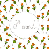 8th march greeting card Stock Image