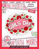 Happy Women`s Day design template. 8 th March. Happy Girls Day. Comic book style poster with lettering and flowers composition. Vector illustration vector illustration