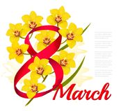 8th March illustration. Holiday yellow flowers background. Vector stock illustration