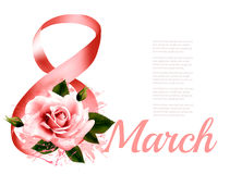 8th March illustration with red rose. International Women`s Day. Vector Stock Photography