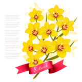8th March illustration with yellow flowers. International Women`s Day. Vector stock illustration