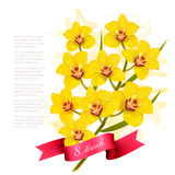 8th March illustration with yellow flowers. International Women`s Day. Vector vector illustration