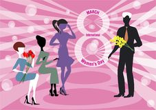 8th of March and Mimosa. A man presents yellow mimosa flowers to the women for the 8th of March, the women`s day royalty free illustration