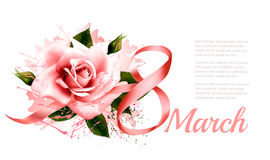 8th March vintage illustration. Pink rose with ribbon. Stock Photos