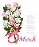 8th March vintage illustration. White and pink roses bouquet. Ve Stock Photography