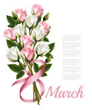 8th March vintage illustration. White and pink roses bouquet Stock Photo