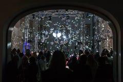 16th marknad 2018 Zagreb Kroatien—festival av ljus i Zagreb arkivfoton