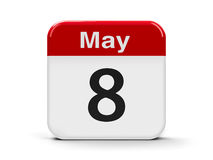 8th May. Calendar web button - The Eighth of May - Days of Remembrance and Reconciliation and World Red Cross and Red Crescent Day, three-dimensional rendering Stock Photo