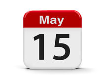 15th May. Calendar web button - The Fifteenth of May - International Day of Families and The International Conscientious Objectors` Day, three-dimensional Royalty Free Stock Photo