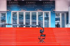 Film festival in Cannes, France. 7th May 2018 - Cannes, France - View of the Palais des Festivals showing red carpet at the 71th Annual International Film royalty free stock photos
